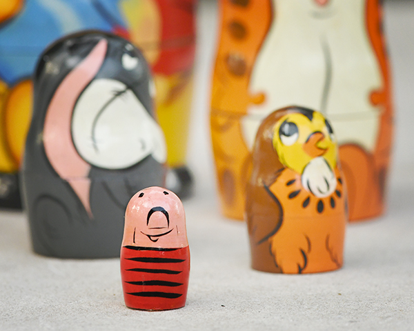 Winnie the Pooh nesting dolls with Piglet