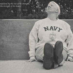 Person in Navy sweatshirt